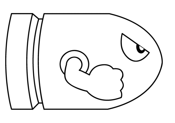 PageLines Mario Coloring Pages Bullet Bill