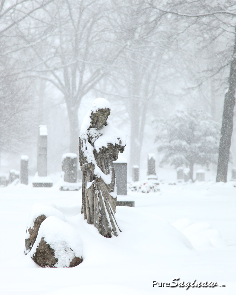 oakwood statue snow