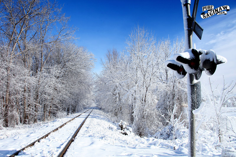 Railroad tracks snow Saginaw Michigan